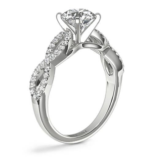 无限式扭纹微密钉钻石订婚戒指