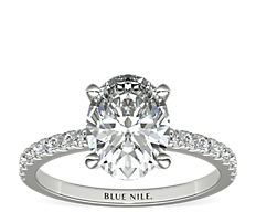 Petite Pavé Diamond Engagement Ring in 14k White Gold (1/4 ct. tw.)
