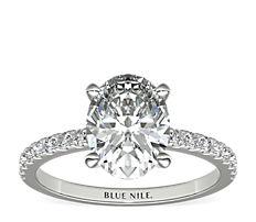 14k 白金小巧密钉钻石订婚戒指<br>(1/4 克拉总重量)