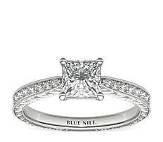 14k 白金手工雕刻微密釘鑽石訂婚戒指(1/6 克拉總重量)