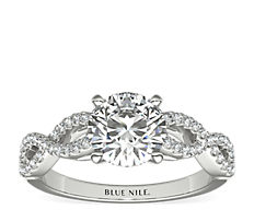 Infinity Twist Micropavé Diamond Engagement Ring in 14K White Gold (1/4 ct. tw.)