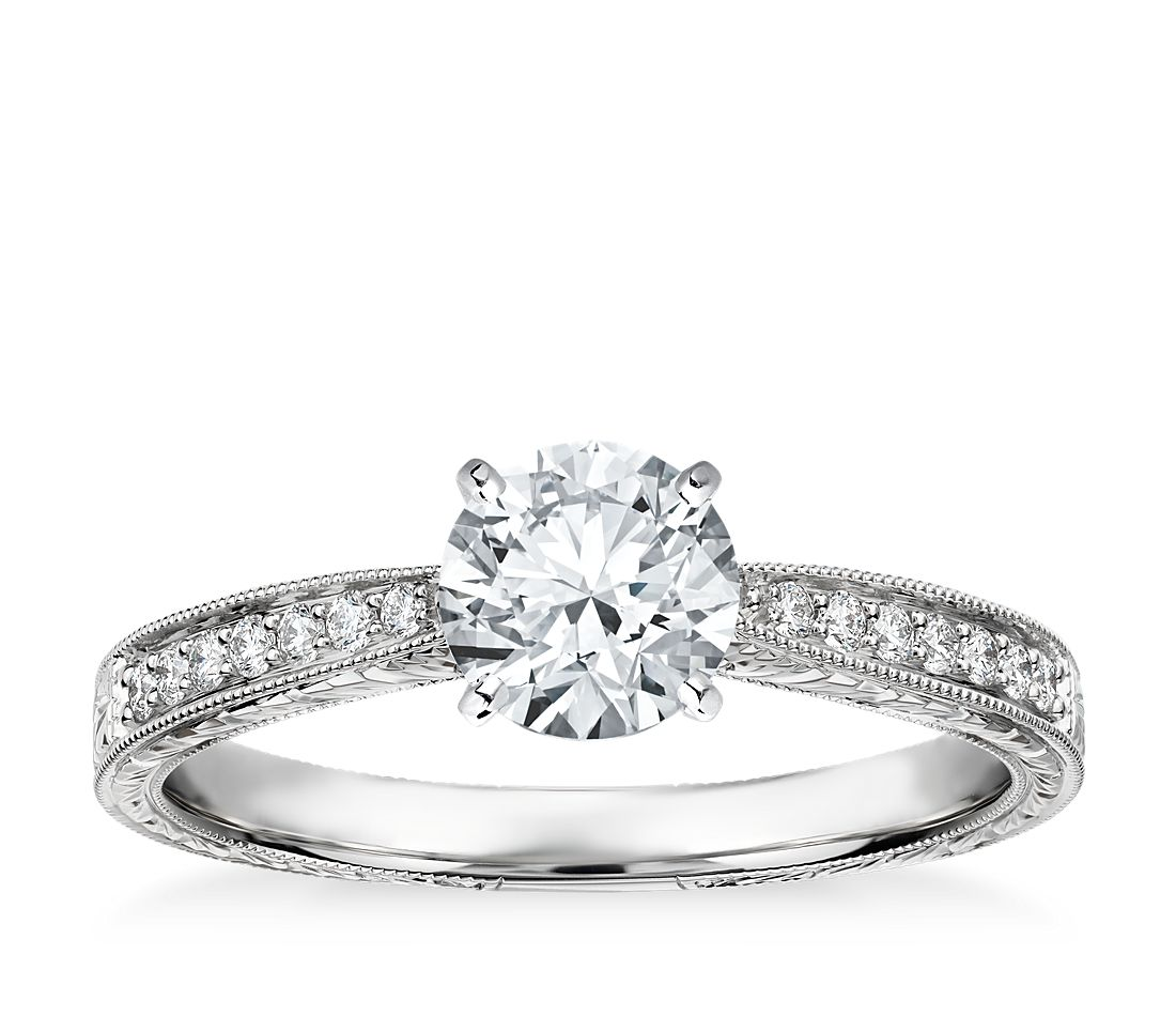 Hand-Engraved Micropavé Diamond Engagement Ring in 14k White Gold (1/6 ct. tw.)