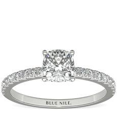 14k 白金小巧密釘鑽石訂婚戒指(1/4 克拉總重量)