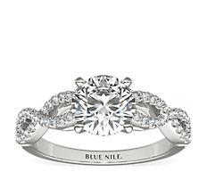 18k 白金Infinity 扭紋微密釘鑽石訂婚戒指(1/4 克拉總重量)