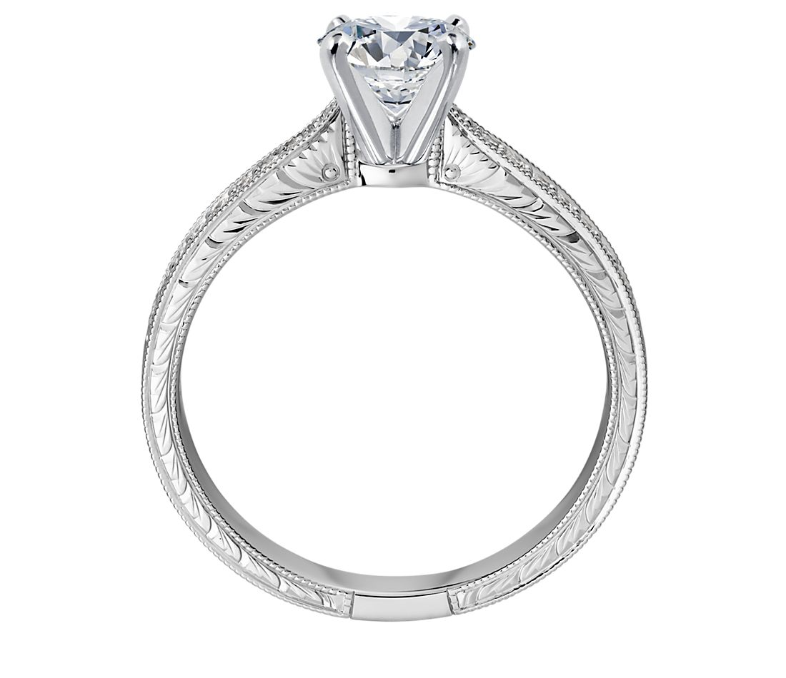 Radiant Reflections Diamond Ring 1 Ct Tw 14k White Gold: Hand-Engraved Micropavé Diamond Engagement Ring In 14k