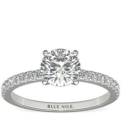 Petite Pavé Diamond Engagement Ring in 18k White Gold (0.24 ct. tw.)
