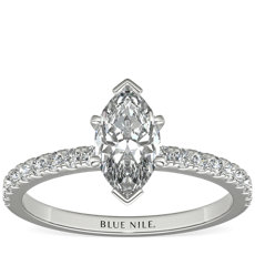Petite Pavé Diamond Engagement Ring in 18k White Gold (1/4 ct. tw.)