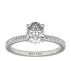 18k 白金小巧密釘鑽石訂婚戒指(1/4 克拉總重量)