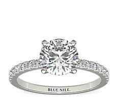 Bague de fiançailles en diamants sertis pavé de petite taille en or blanc 18carats (0,24carat, poids total)
