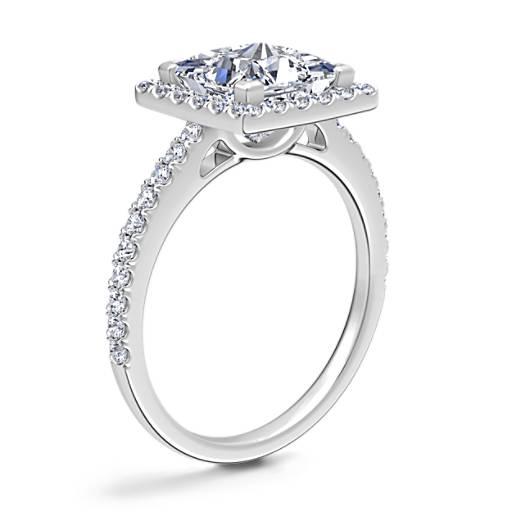 Princess Cut Halo Diamond Engagement Ring