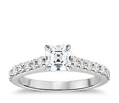 Bague de fiançailles cathédrale en diamants sertis pavé en platine
