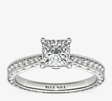 Engraved Micropavé Diamond Engagement Ring