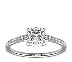 Petite bague de fiançailles en diamants sertis pavé avec monture cathédrale en platine (0,14carat, poids total)