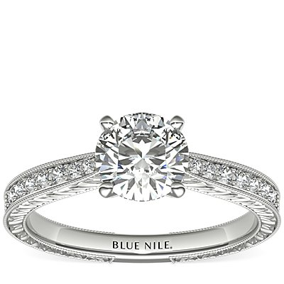 Engraved Micropavé Diamond Engagement Ring in Platinum