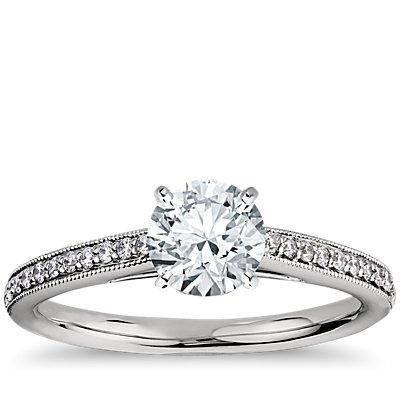 铂金 Riviera Pavé 家传之宝大教堂钻石订婚戒指<br>(1/10 克拉总重量)