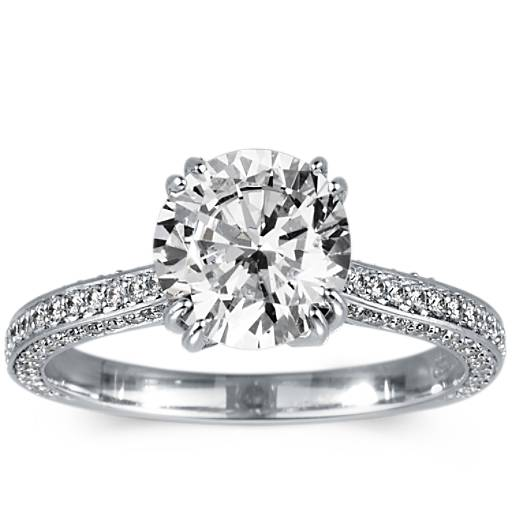 Heirloom Micropavé Diamond Engagement Ring In Platinum