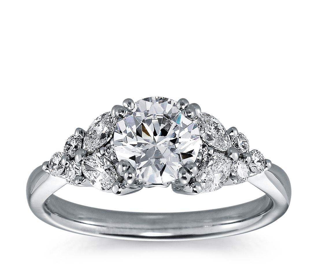 Marquise and Round Diamond Engagement Ring in Platinum (1/2 ct. tw.)