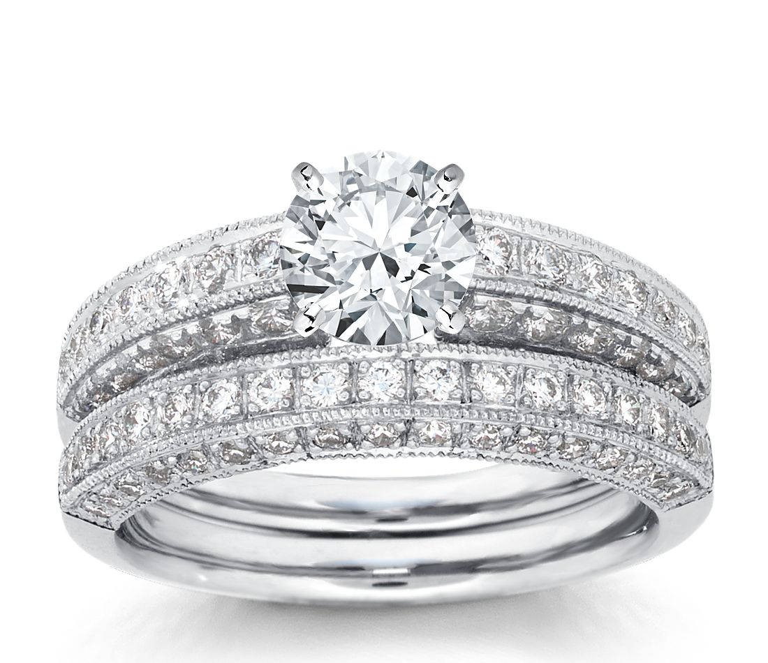 Heirloom Pavé Diamond Engagement Ring and Band in Platinum (1 ct. tw.)