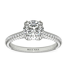 Heirloom Micropavé Diamond Engagement Ring in Platinum