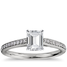Riviera Pavé Heirloom Cathedral Diamond Engagement Ring in Platinum (1/10 ct. tw.)