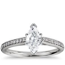 铂金 Riviera Pavé 家传之宝大教堂钻石订婚戒指(1/10 克拉总重量)