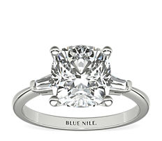 Tapered Baguette Diamond Engagement Ring in Platinum (0.14 ct. tw.)