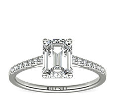 Petite Cathedral Pavé Diamond Engagement Ring in Platinum (0.14 ct. tw.)