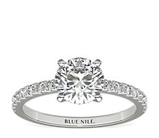 Petite Pavé Diamond Engagement Ring in Platinum (0.24 ct. tw.)