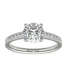 Channel Set Princess Cut Diamond Engagement Ring in Platinum (0.29 ct. tw.)