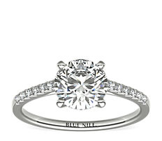 Petite Cathedral Pavé Diamond Engagement Ring in Platinum (0.14 ct. tw.)