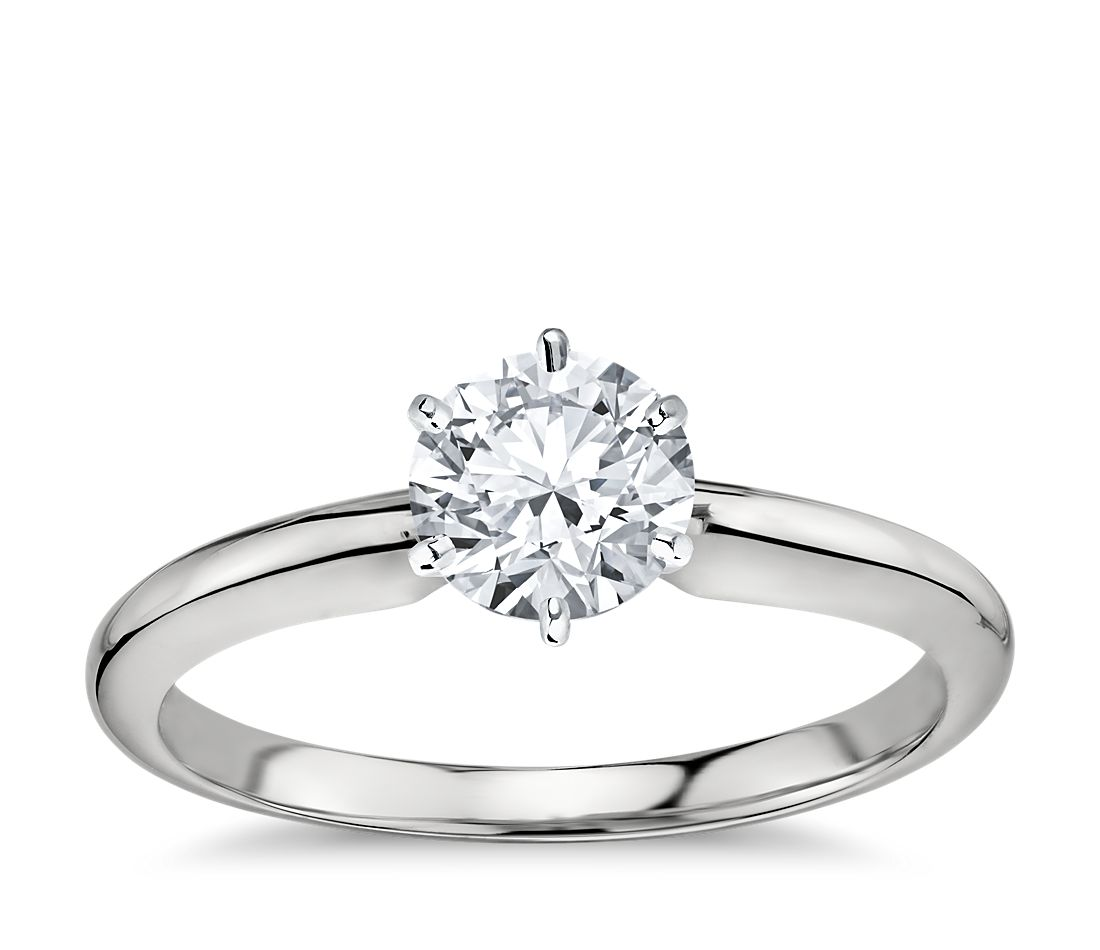 classic six prong solitaire engagement ring in 18k white. Black Bedroom Furniture Sets. Home Design Ideas