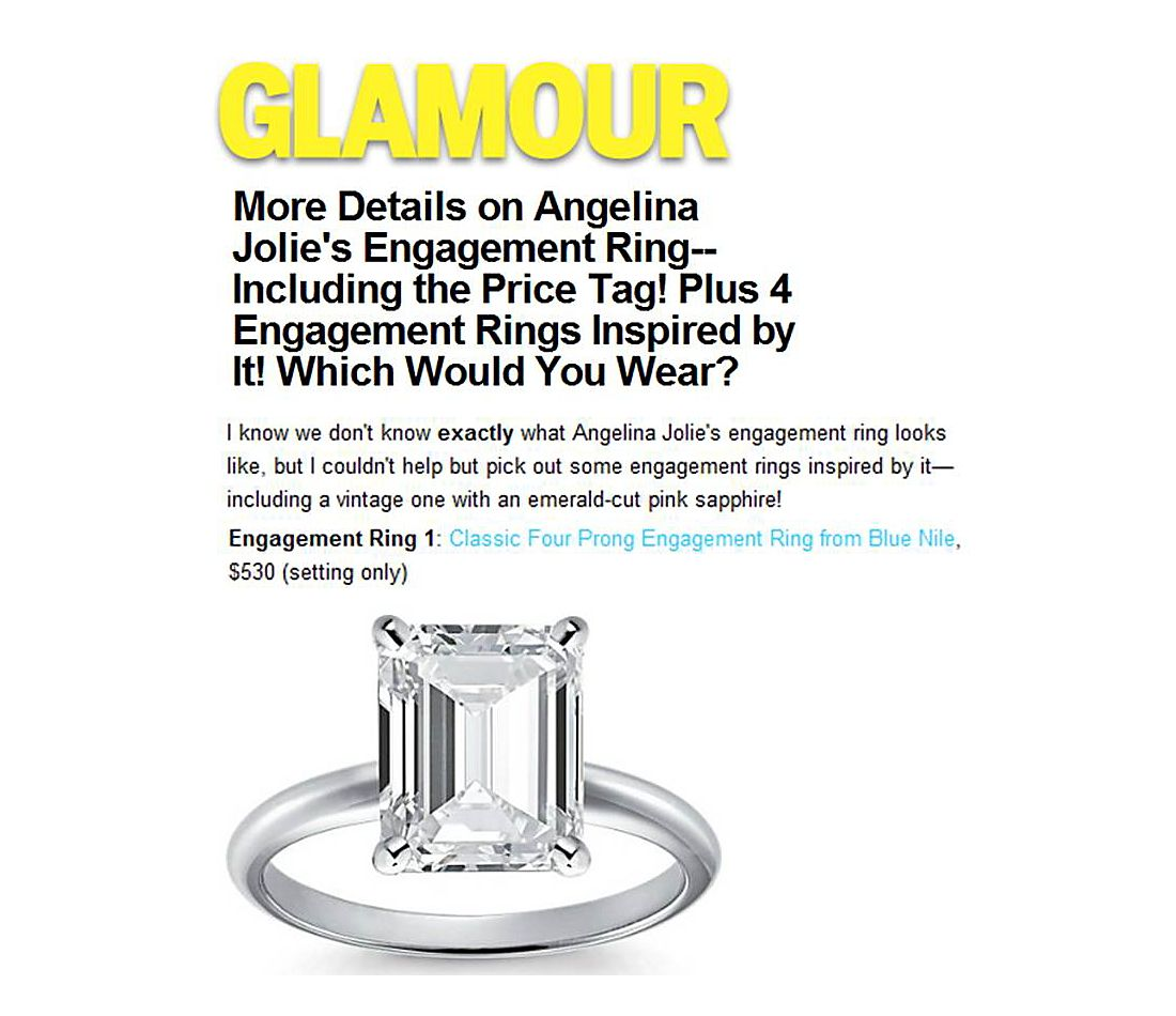 Glamour.com - 4 Engagement Rings Inspired by Angelina Jolie's Engagement Ring