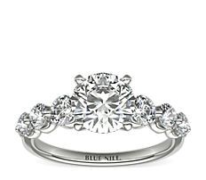 Floating Diamond Engagement Ring in Platinum
