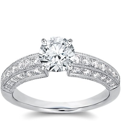 Heirloom Pavé Diamond Engagement Ring in Platinum (1/2 ct. tw.)