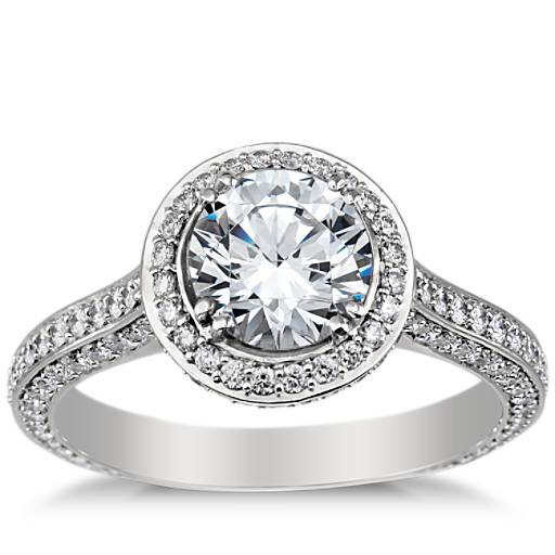 Heirloom Halo Micropavé Diamond Engagement Ring In