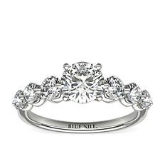 Bague de fiançailles diamant flottant en platine (0.18carat, poids total)