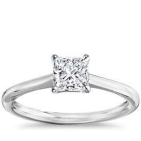 petite solitaire engagement ring in platinum - Square Cut Wedding Rings
