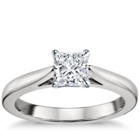 tapered cathedral solitaire engagement ring in platinum - Square Cut Wedding Rings