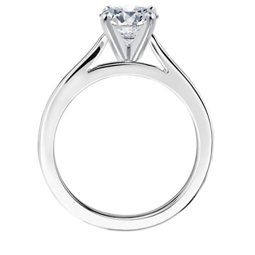 Tapered Cathedral Solitaire Engagement Ring