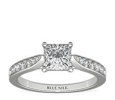 18k 白金大教堂密釘鑽石訂婚戒指(1/4 克拉總重量)