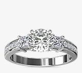 Trio Princess Cut Pavé Diamond Engagement Ring