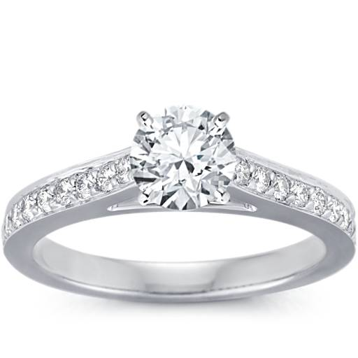 Cathedral Pavé Diamond Engagement Ring In 14k White Gold