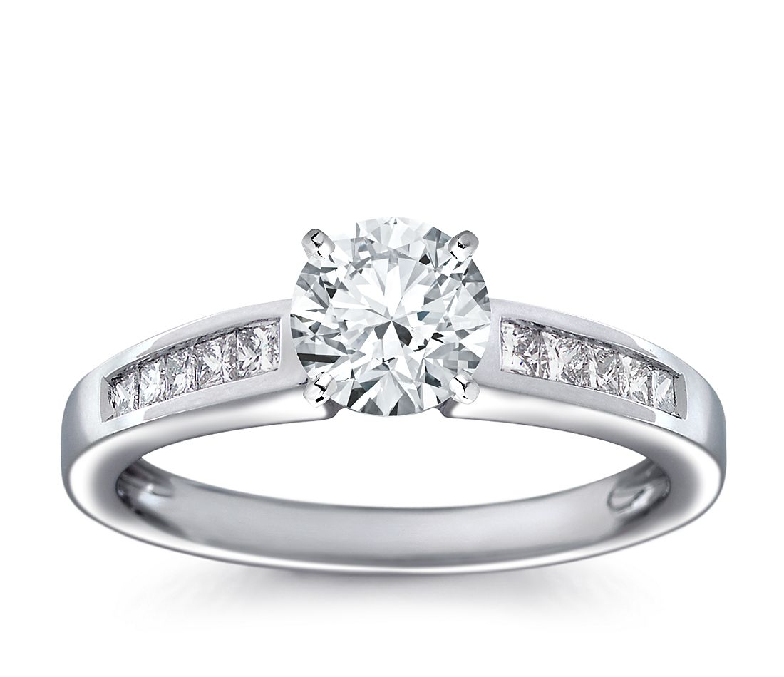 Channel Set Princess Cut Diamond Engagement Ring in 18k White Gold (1/4 ct. tw.)
