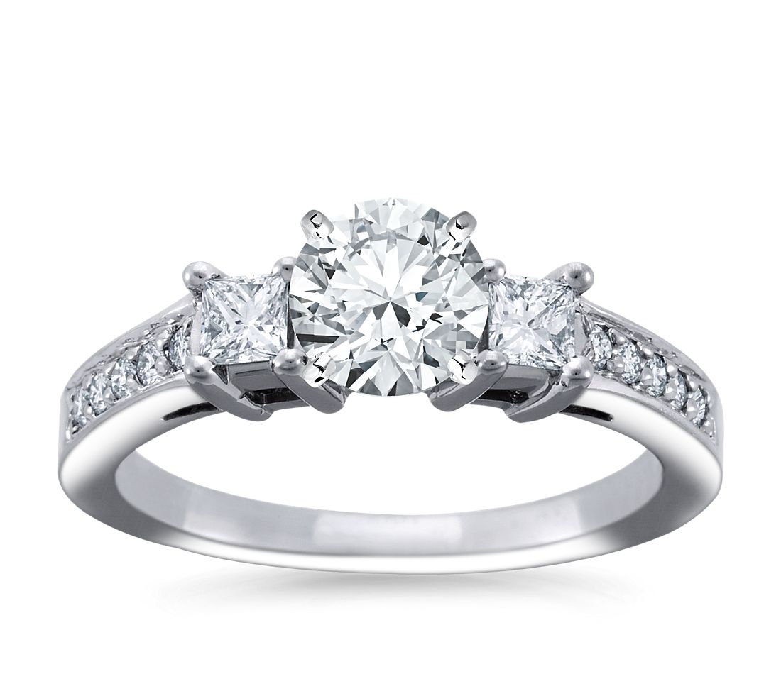 Trio Princess Cut Pavé Diamond Engagement Ring in 18k White Gold (1/3 ct. tw.)