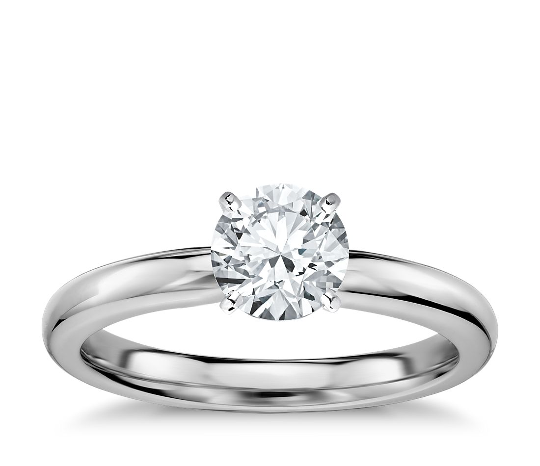 Classic Comfort Fit Solitaire Engagement Ring In 14k White