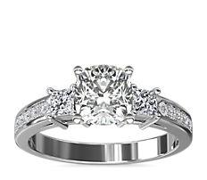 Trio Princess Cut Pavé Diamond Engagement Ring in 14k White Gold (0.32 ct. tw.)