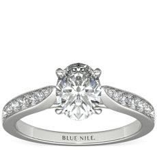 18k 白金大教堂密钉钻石订婚戒指<br>(1/4 克拉总重量)