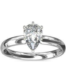 14k 白金经典内圈卜身设计单石订婚戒指<br>(2.5毫米)