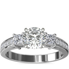 Trio Princess Cut Pavé Diamond Engagement Ring in 14k White Gold (0.32 ct. tw.)