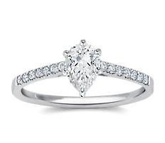 Petite bague de fiançailles en diamants sertis pavé avec monture cathédrale en or blanc 18carats (0,14carat, poids total)
